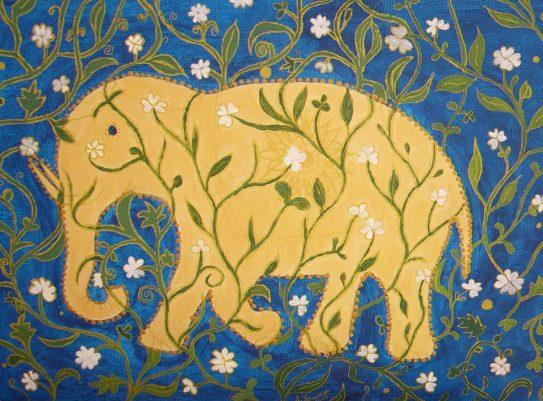 Elephants on the way 1 - Acril on canvas 30x40 cm