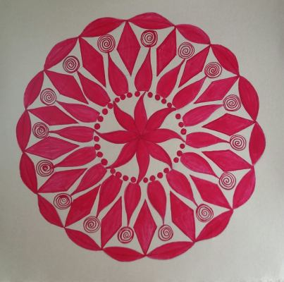 Red - Ink on golden paper 30x30 cm