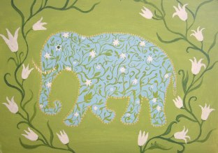 Elephants on the way 3 - Acril on canvas 30x40 cm