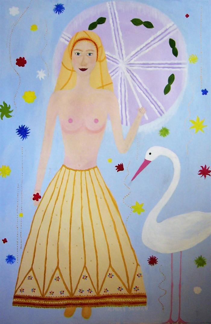 Girl and bird, acril on canvas 80x150cm