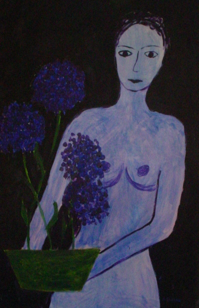 in blue, acril on canvas 60x90cm