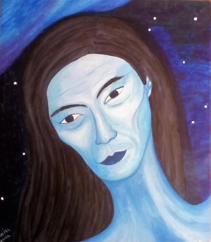 Satoshi, acril on canvas 50x58cm