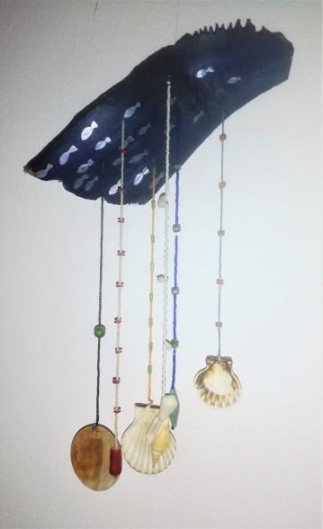 shells & beads on painted palm leaf 30x50cm